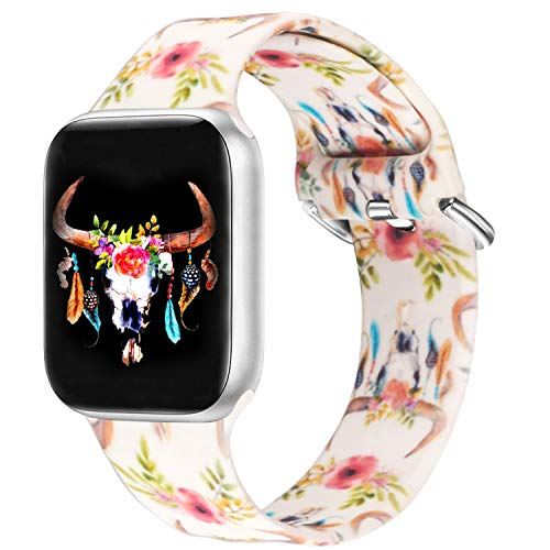 Idealiveny Silicone Band Compatible with Apple Watch Band 38mm 40mm 42mm 44mm Women Sports Strap Rubber Wristband for Iwatch Band Series 6 5 4 3 2 1(Watercolor Bull Skull Flowers Feathers,42/44MM-M/L)