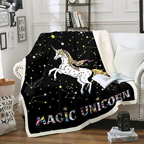 Manta decorativa de forro polar con diseño de unicornio, diseño de unicornio de dibujos animados, para cama o sofá, oficina, diseño de caballo de 76 x 40 cm