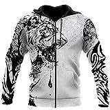 Cool White Tiger 3D Print Hoodie Unisex Harajuku Outwear Cremallera Pullover Sudadera Casual Chaqueta Más Tamaño, Sudadera con cremallera 3D 1, M