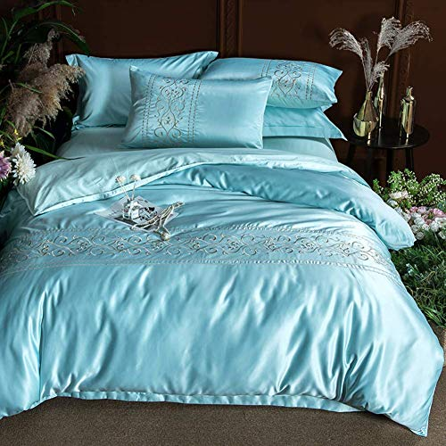 Nordic Royal Washed Silk Pure Cotton Duvet Cover Set, 4 Pcs Duvet Cover Bed Sheets Pillowcase*2 Double Side Cover Bedding Sets