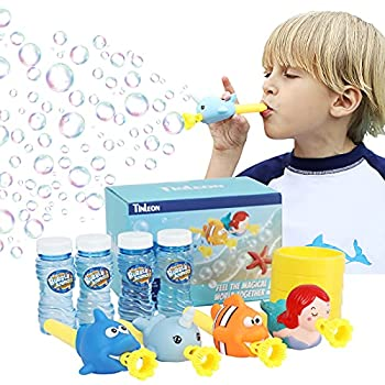 Tinleon Bubble Wands Blower for Kids  4Pcs Bubble Maker with Bubble Solution Marine Theme Bubble Blower  Whale Mermaid Clownfish Narwhal  for Kids Outdoor Activities Toys