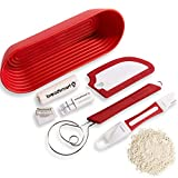 Breadsmart Artisan Bread Making Kit - 5 PC Baking Supplies Set - Lame, Scraper, Whisk, Proofing...