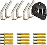 AUXPhome 6Set Motorcycle Helmet Holder Hook, Wall Mounted Equestrian Helmet Storage Rack Hanger, Motorbike Cloth Wall Display Rack, Football Helmet Display Stand, Baseball Batting Helmet Rack