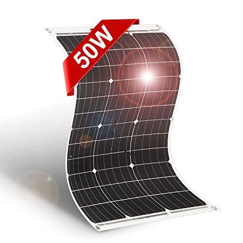 DOKIO 50W Solarpanel flexibel Mono 12V - Solarmodul ideal für Wohnmobil, Camping, Gartenhaus