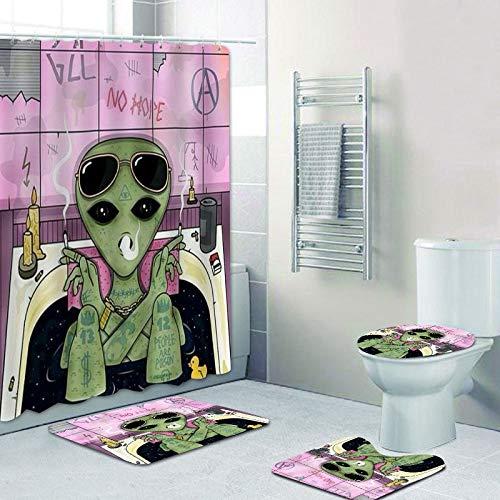 FFjingpu Trippy Alien Rauch & Chill In Bad Duschvorhang 3D Bad Gardinen Set Lustige Alien Rauchen Unkraut Zigarette Toilette Teppich Matte