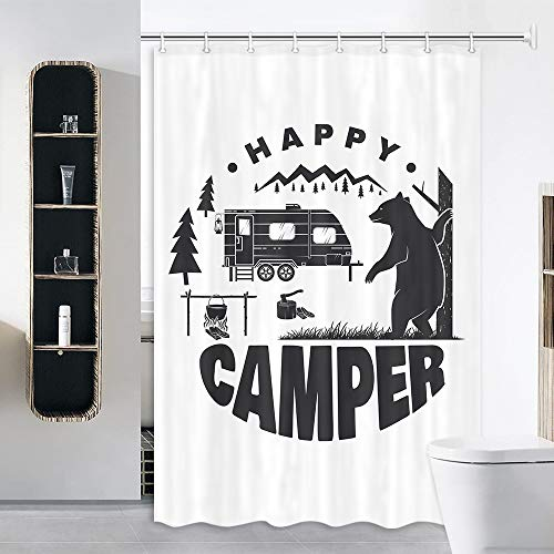 JAWO RV Shower Curtain for Camper Trailer Camping Bathroom, Camping Trailer Bear Campfire and Forest Silhouette, Stall Shower Curtain with Hooks Set, 47x64Inch