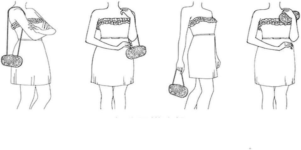 Vaaaa-bag Womens Soirée Sac À Main d'embrayage avec Détachable Sangle Chaîne Sac De Mariage Cocktail Portefeuille (Couleur : A) C