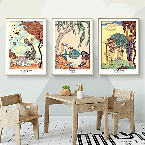 PEEKEON George Barbier ilustraciones Descargar elementos de arte de pared Pósteres y Impresiones Decorative Picture Modern Home Decoration 20x28x3 inch Sin marco
