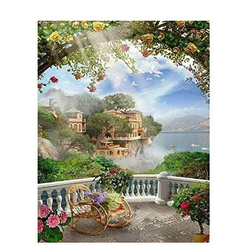 Pepkgk Pintura de Diamante 5D Completo, Mosaico de Diamantes de jardín de Puerto, Pintura de Diamantes de imitación, Paisaje Bordado de Diamantes, Regalo para Padres, Cuadrado 30x40cm