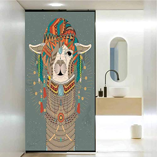Privacy Protection Window Film, Llama Colorful Headwear Wearing Llama with Accessories Earrings Necklace Abstract Animal, Home Window Tint Film Heat Control 23.6x78.7 in, Multicolor