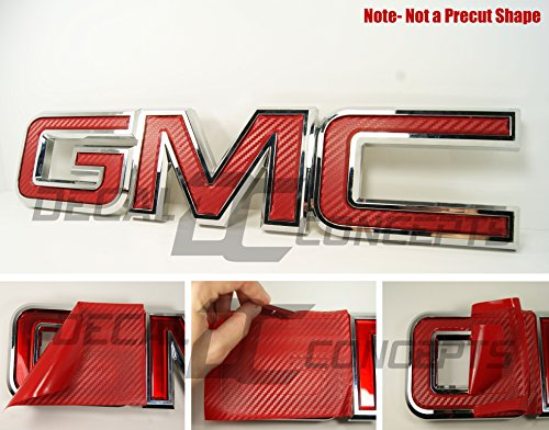 Decal Concepts GMC Sierra/Yukon RED Carbon Fiber Front Grill Emblem Overlay Wrap Kit (07-17)