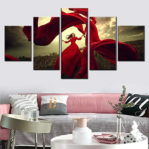 HD Nordic 5 Stück Mädchen Porträt schwimmende tanzende rote Rock Kunst Wohnzimmer Wanddekoration,Rahmenlose Malerei,30x40cmx2, 30x60cmx2, 30x80cmx1