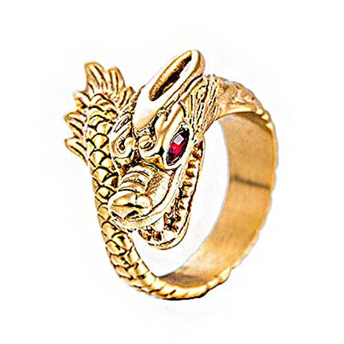 FLQWLL Anillo De Dragón De Ojos Rojos Dominante Anillo De Amuleto De Tótem De Dragón De Personalidad Retro,11