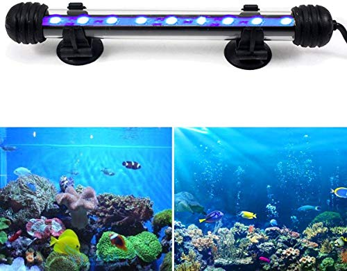 DOCEAN 2W 18cm LED Aquarium Beleuchtung Aquarium Lampe Aquariumleuchte IP68 Wasserdicht Unterwasserleuchte, Blau Licht