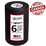 sports tape Black Hockey Tape - Stick Tape - 6 Rolls - 1 Inch Wide,20 Yards Long (Cloth) - Made in North America Specifically for Hockey (STP946-36)