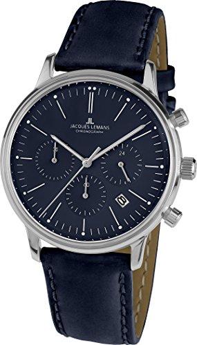 Jacques Lemans Unisex Analog Quarz Uhr mit Leder Armband N-209ZC