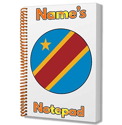 Gepersonaliseerd geschenk - Democratische Republiek Congo Vlag A5 Notepad/Notebook - Gift - Verjaardag - Kerstmis - Stocking Filler - Geheime Kerstman - ADD elke naam
