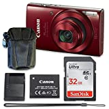 Canon PowerShot ELPH 190 is Digital Camera (Red) with 32GB Memory + Case