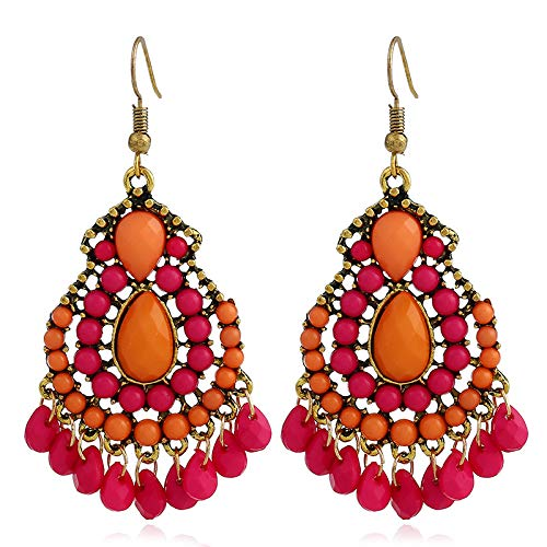 QYMX Earring Women,Ethnic Antiqued Gold Color Hollow Orange Resin Link Beads Pendant Chunky Drop Earrings For Women Girls Fashion Party Jewelry