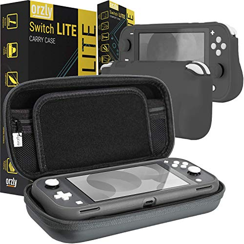 Orzly Carry Case and Comfort Grip in Gray for Switch Lite - Bundle
