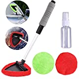 WenMei Car Windshield Cleaner, Extendable Handle Car Window Cleaner Brush Kit, Microfiber Car Window Cleaning Tool with Extendable Handle 2 Washable Pad and 30ML Spray Bottle(1 Wet Use 1 Dry Use)