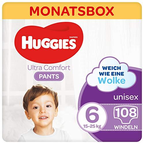 Huggies Ultra Comfort Pants Größe 6, 15 bis 25 kg, Für aktive Kinder, Mit Nässeindikator und Wolken-Taillenbündchen-Technologie, 108 Windeln, Monatsbox