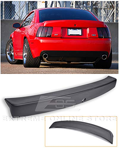 Extreme Online Store Replacement for 1999-2004 Ford Mustang | Cobra Style ABS Plastic Primer Black Rear Trunk Lid Spoiler Wing Lip Brake Light Deleted