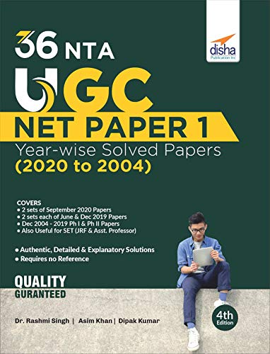 36 NTA UGC NET Paper 1 Year-wise Solved Papers (2020 to 2004) 4th Edition