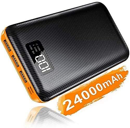 KEDRON 24000mAh Powerbank Externer Akku Lighting Micro USB Ladegerät mit 2 Eingängen 3 Ausgängen für Nintendo Switch iPhone iPad Samsung Huawei und weitere Smartphones(Orange)