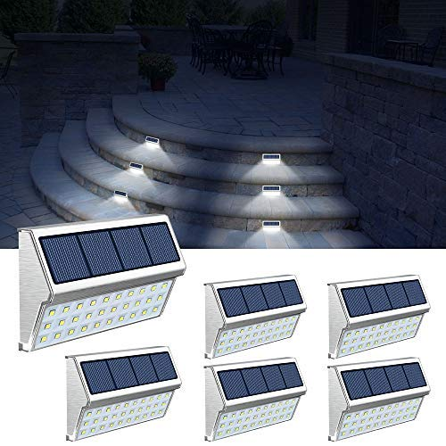 ROSHWEY Solar Step Lights Outdoor 30 LED Stainless Steel Fence Post Solar Lamps Waterproof Deck Lighting for Walkway Stairs (Pack of 6, Cool White Light)