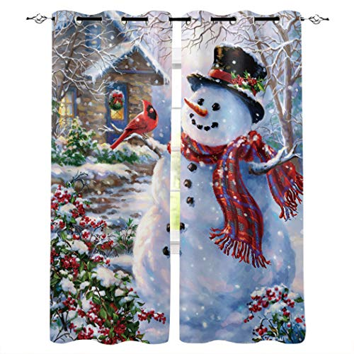 Libaoge Draperies & Curtains Panels for Bedroom Merry Christmas Happy Snowman and Cardinals Window Curtains for Solding Glass Door - Set of 2 Panels, 104' W by 96' L