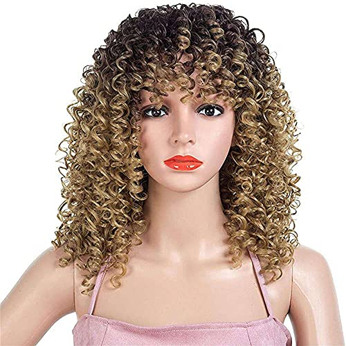 Yuyanshop Curly Wigs for Black Women Afro Wig with Bangs Short Kinky Curly Synthetic Hair Wig Heat Resistant Full Wigs