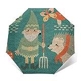 Hedgehogs and Hunters Compact Travel Umbrella Rain Umbrella Windproof Lightweight Auto Open/Close Folding