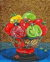 DIY数字油絵 塗り絵キット パズル油絵 トマト デジタル油絵 手塗り 数字キットによる絵画 絵かき インテリア 壁飾り ホームデコレーション 40x50cm(額縁なし)