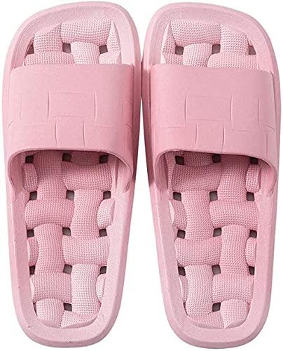Zeryu Pantuflas de casa para hombre y mujer, antideslizantes, sandalias de verano y pantuflas de interior para ducha, color Rosa, talla 36 EU Schmal