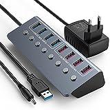 Hub USB 3.0 Alimentacion con 36W Adaptador, 4 USB Puerto De Datos+ 4 USB Carga Instantánea Encender/Apagar Individuales Divisor y Indicadores LED para MacBook Air/Pro, Dell, Microsoft, Windows