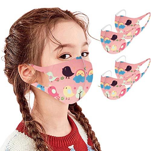 4 Stück Kinder Ice Silk Mundschutz Ice Silk Bandana, Kinder Gesicht Atmungsaktive Baumwolltuch Bandana Waschbare Mund und Nasenschutz Bandana Halstuch Jungen Mädchen (4 PC,C4)