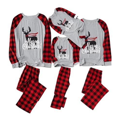 2021 Pijamas de Navidad Familia Conjunto Pantalon y Top Pijamas Mujer Hombre Invierno Navidad Impresión a cuadros Manga Larga Ropa de Dormir 2 Piezas Bebés Niños Niña Mamá Papá Homewear Romper