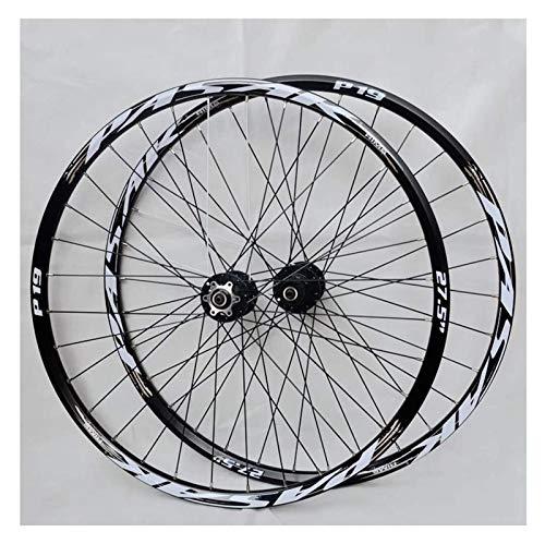 YQQQQ Juego de Ruedas de Bicicleta MTB de 26/27,5/29 Pulgadas Ruedas de Ciclismo de Montaña con Freno de Disco de Aleación de Aluminio (Color : Black, Size : 29inch)