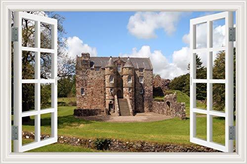 3D Fenster Wandaufkleber European Castle Tower Historische Gebäude Architektur Landschaft Tapete PVC Poster Aufkleber Kunst Wandbild Schlafzimmer Wohnkultur