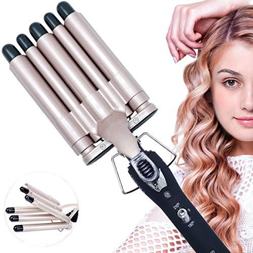 Lockenstab, 5 Dreifache Fässer lockenstäbe Haarwickelzange Hair Waver Pearl Waving Lockenwickler, Wellenstyler Turmalin Keramik Digitale Temperaturanzeige für Lange/kurze Haare