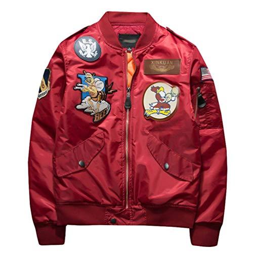 YiiJee Männer Klassische Retro-Fliegerjacke Mode Reißverschluss Jacke Gedruckt Stickerei Dicken Mantel Rot 2XL