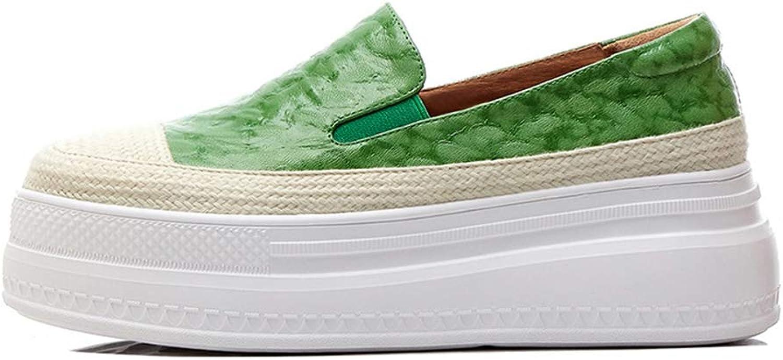 Kvinnors skor 2019 ny läder Low Top Casual skor skor skor Lace Uppe Round Head Woven skor utomhus gående skor svart grön,grön,37  försäljning
