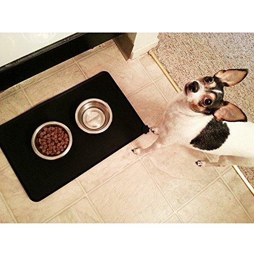 Ploopy Napfunterlage Hund, Napfunterlage silikon, Katzen Napfunterlage, Haustier Fressnapf Unterlage Futtermatte für Hund und Katze Premium Silikon, Napfunterlage fuer Haustier 47cm*30 cm Grau - 7