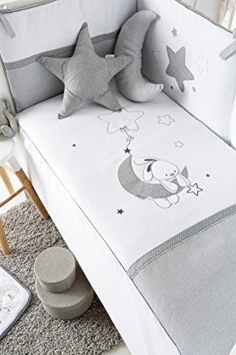 Pirulos Edredón Luna + Protector + Cojín para Cuna 60x120 - Color Blanco Gris