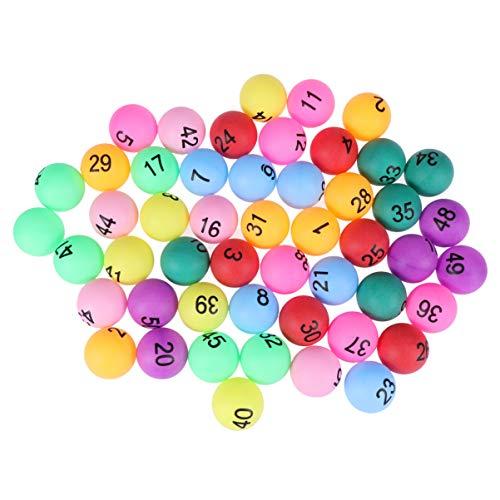 Tomaibaby 50 Piezas de Bolas de Mesa Numeradas Bolas de Lotería Bolas de Pong de Colores con El Número 1-50 para La Decoración de La Fiesta del Juego de Navidad