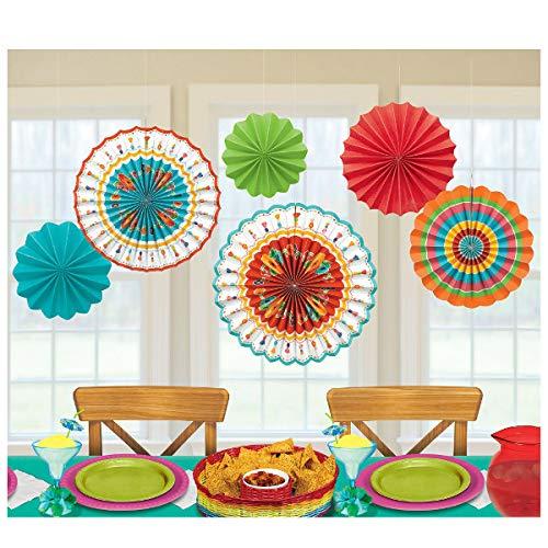 Cinco De Mayo Fiesta Paper Fans, 6 Ct. | Assorted Colors | Party Decoration