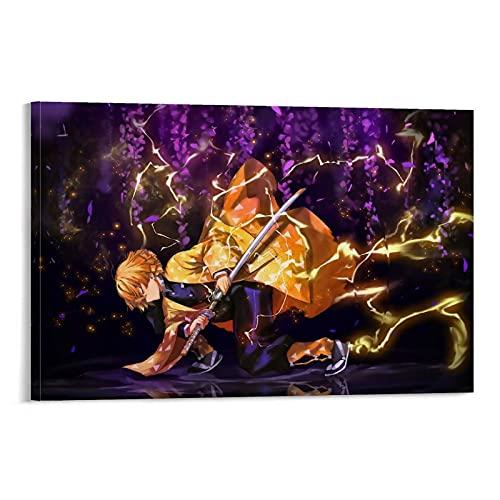 Demon Slayer Agatsuma Zenitsu Simple y Elegante Póster Regalo de Cumpleaños Ideas Divertidas 20 x 30 cm