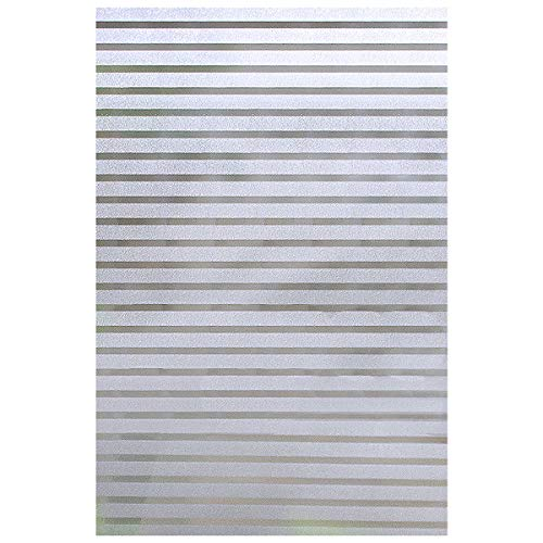 EASEHOME Stripe Frosted Window Film, Self Adhesive Glass Window Sticker Privacy Vinyl Window Blinds Decorative Opaque Static Cling Anti-UV 17.3'x78.7'(44x200cm), Stripe Pattern
