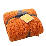 Super Soft Throw, Decorative Woven Plaid Pattern Throw Blanket with Tassels, 50x60, Orange